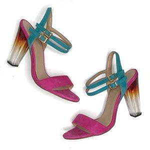ASOS Pink & Teal Suede High Heel Sandals